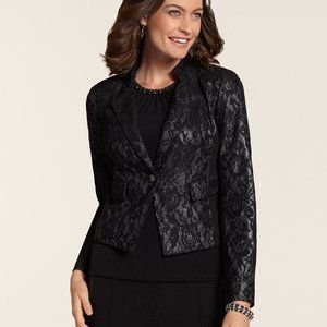 Chico's Black Bonded Lace Moto Jacket NWT 8/10